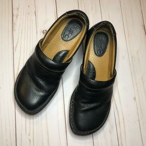 Boc Black Leather Clogs